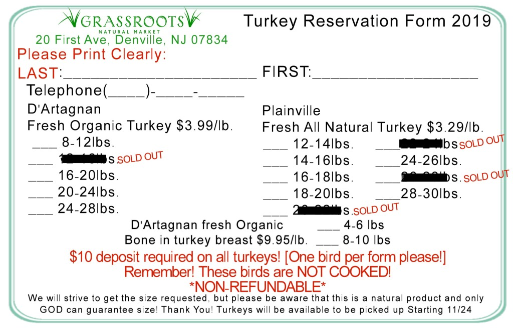 Turkey Reservation Form UPDATE