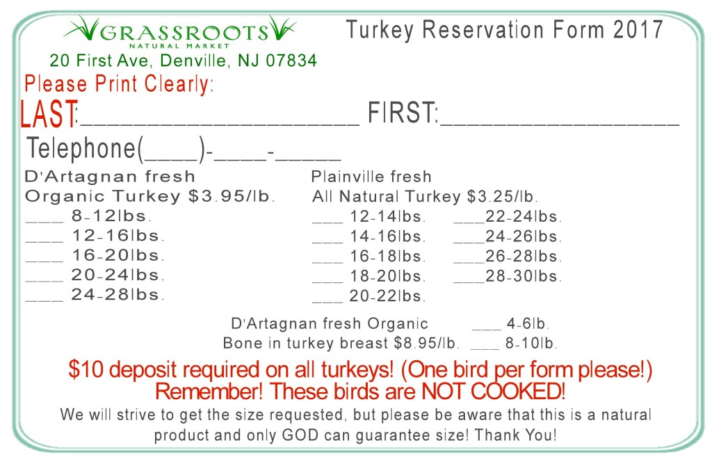turkey order form